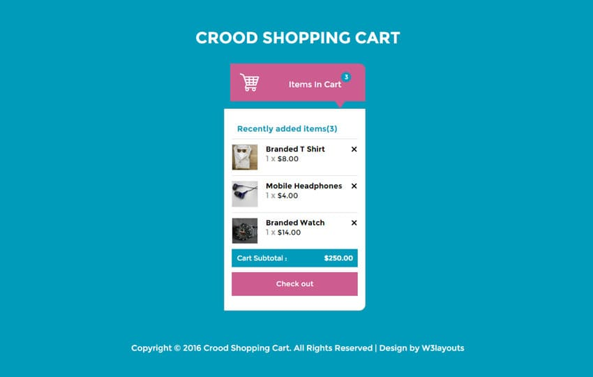 Crood Shopping Cart Responsive Widget Template