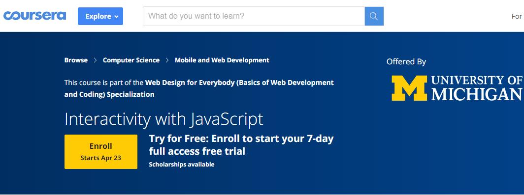 Coursera 网站界面