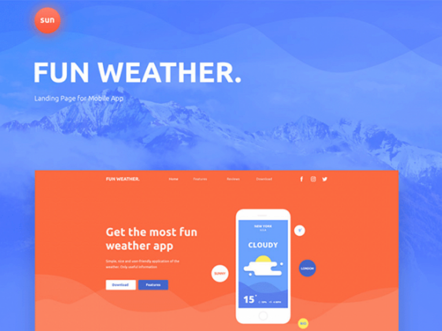 Fun Weather - A free landing page template