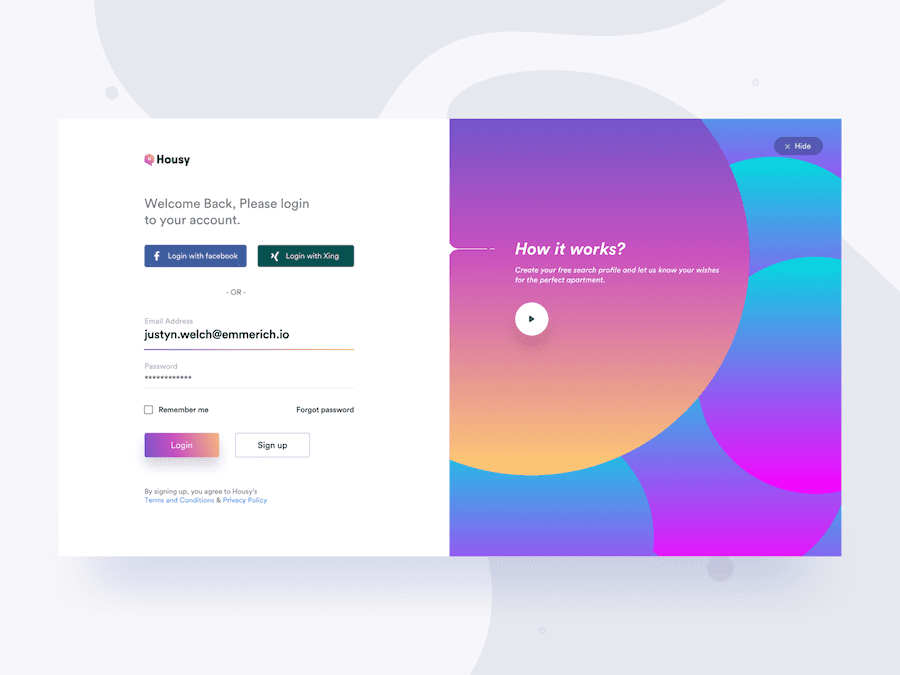 Housy-Login Page Example