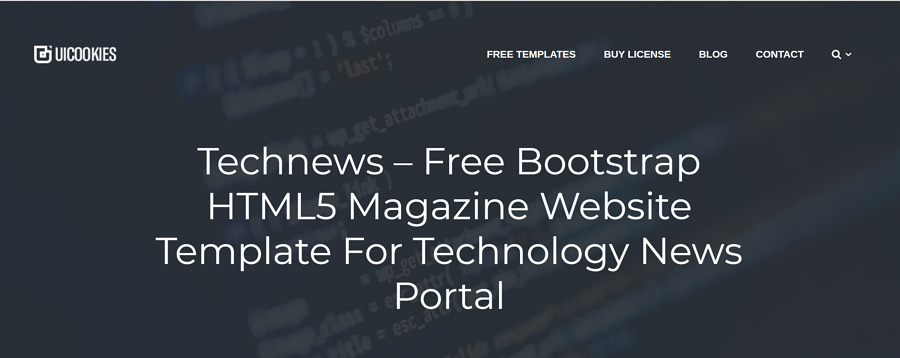 Technews – Free Bootstrap HTML5 Magazine Website Template