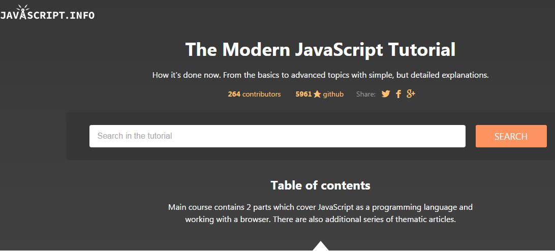 Javascript.info 网站界面