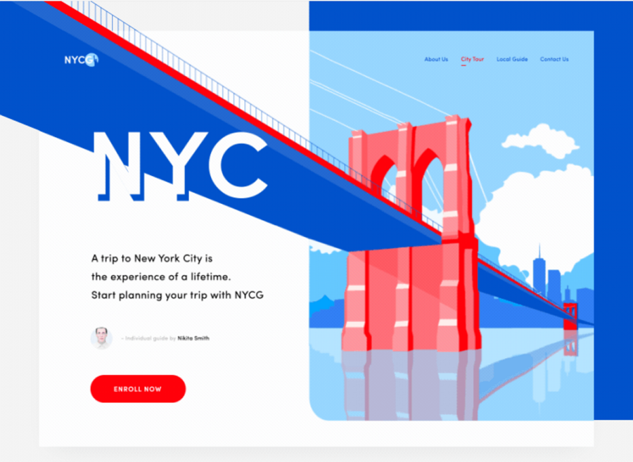 NY City guide landing page motion design