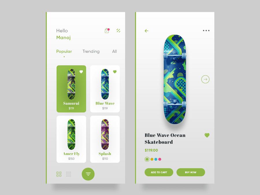 Skateboard shopping eCommerce