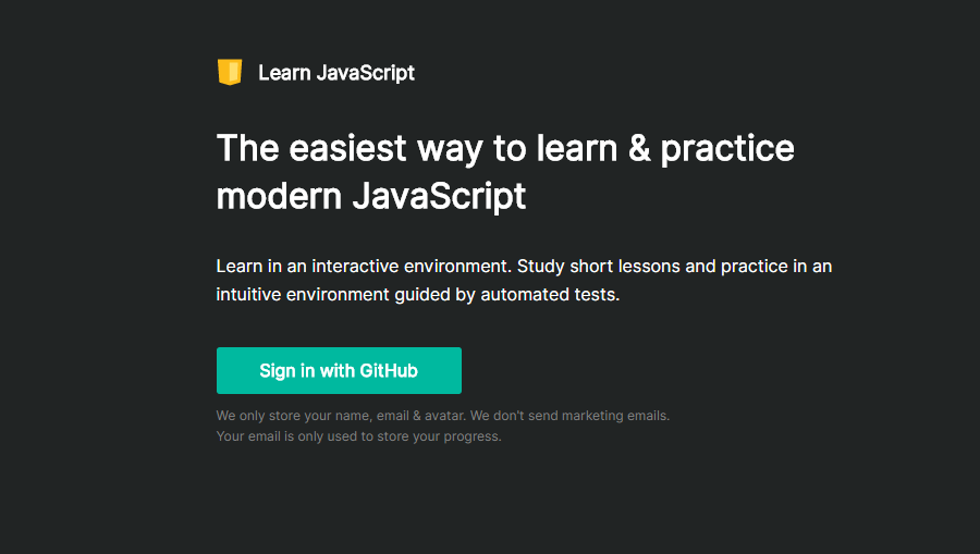 Learn Javascript 网站界面