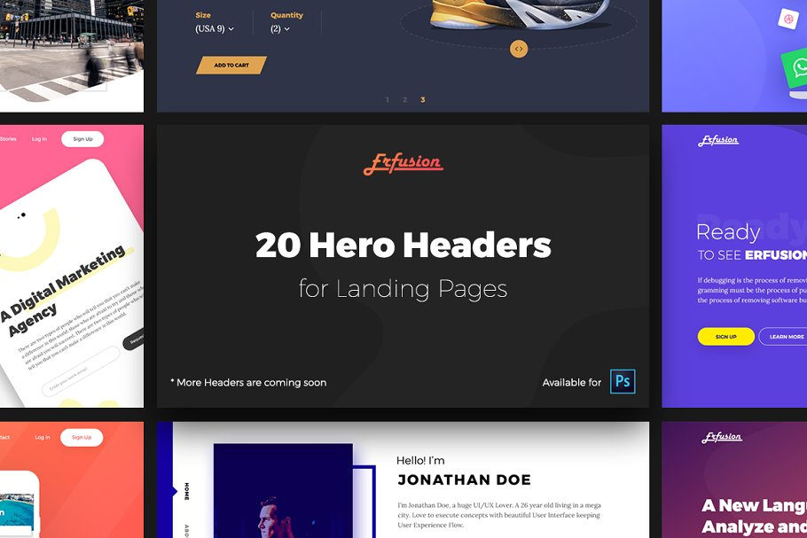 Web UI kit - 20 Hero Headers