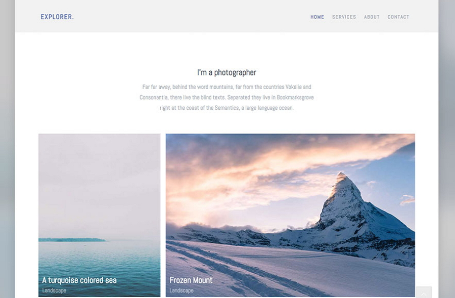 Explorer – Free HTML Photography Website Template Using Bootstrap