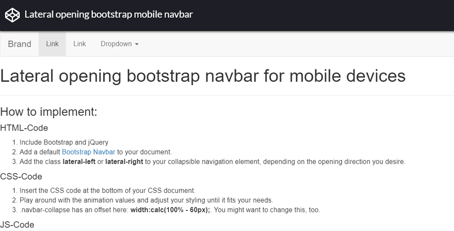 Lateral opening bootstrap mobile navbar