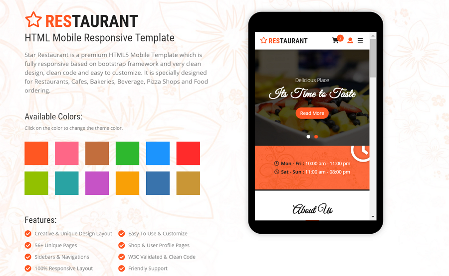 Star Restaurant and Food Mobile Template