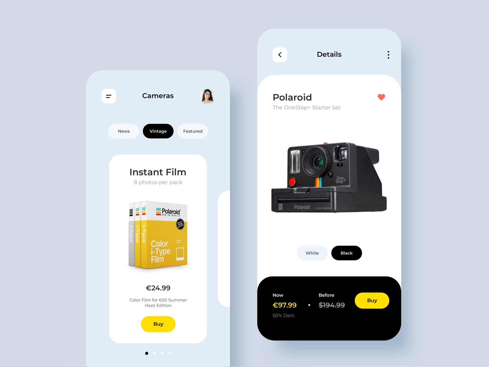 eCommerce App Camera design
