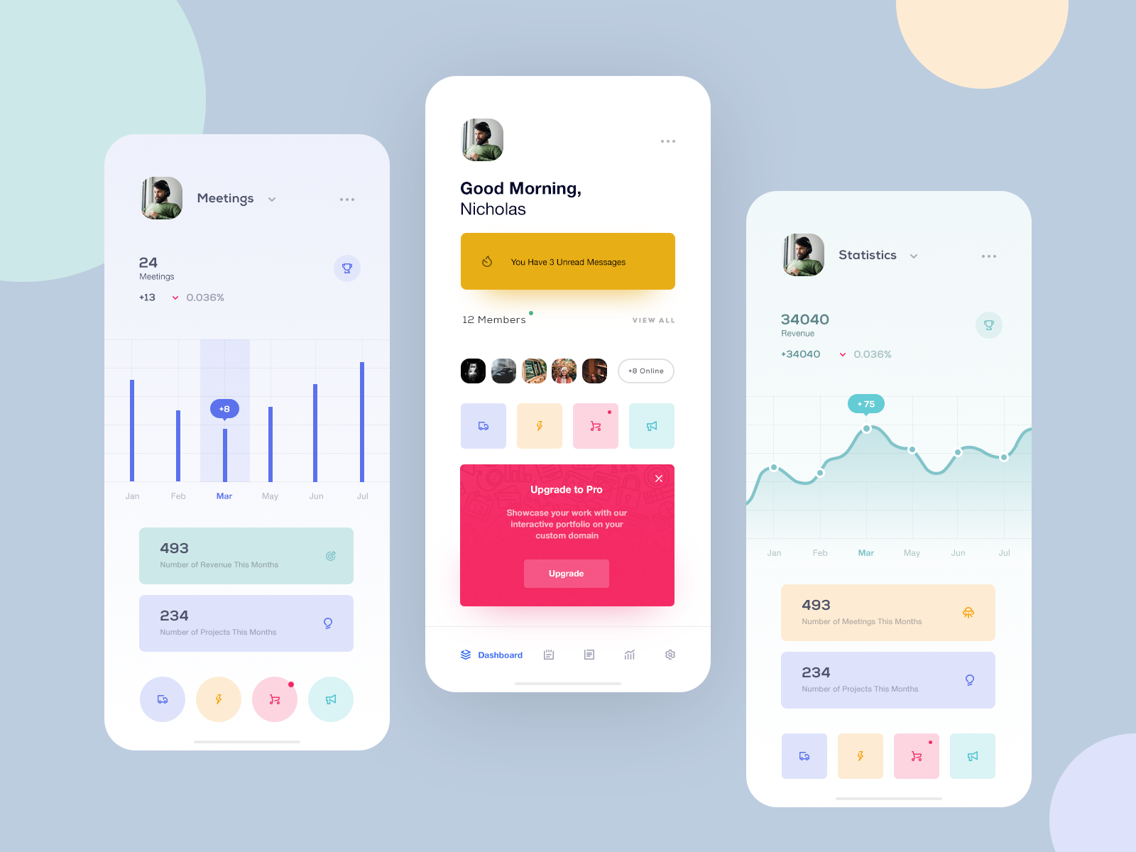 mobile app dashboard design