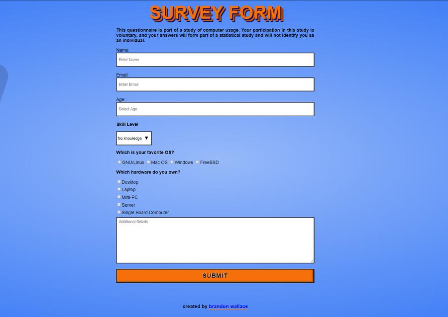 FCC Survey Form Mobile First