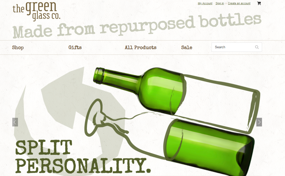 Green glass website design