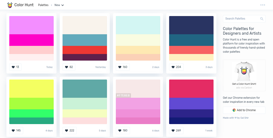 Color Hunt Free Color Palette Tool to Get Color Combination Inspiration