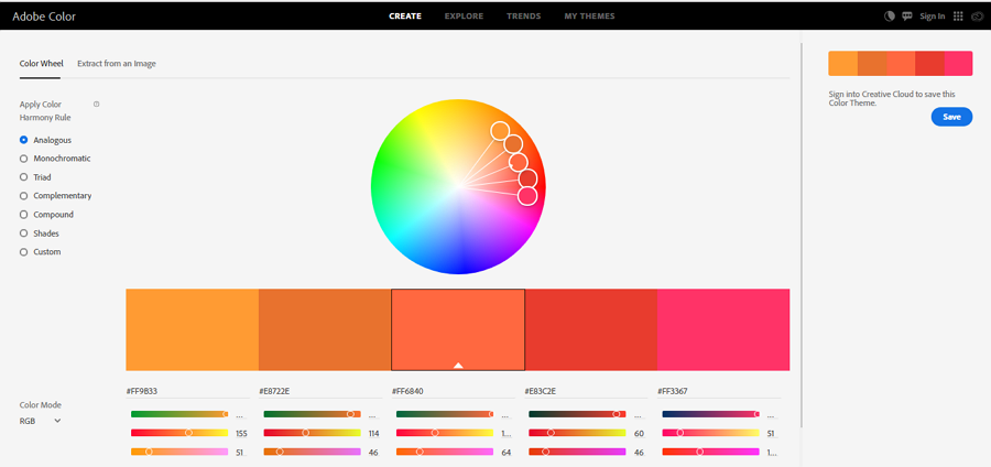 Adobe Color CC Advanced Free Color Picker