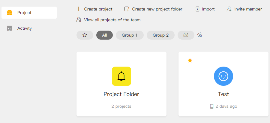 Save projects to different project folders for better management