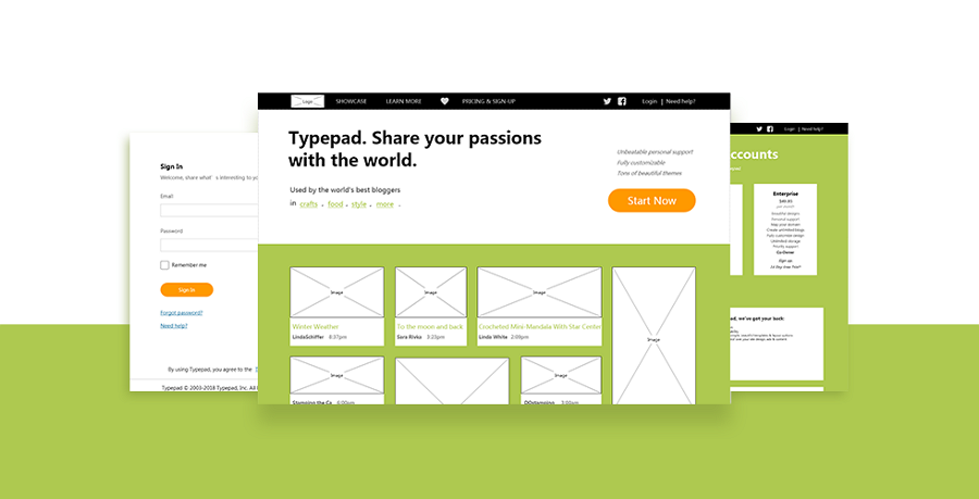 Mockplus Wireframe Sample Design Typepad