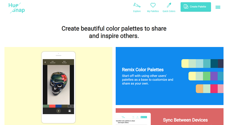 Hue Snap Customizable Color Palette Generating and Sharing Tool