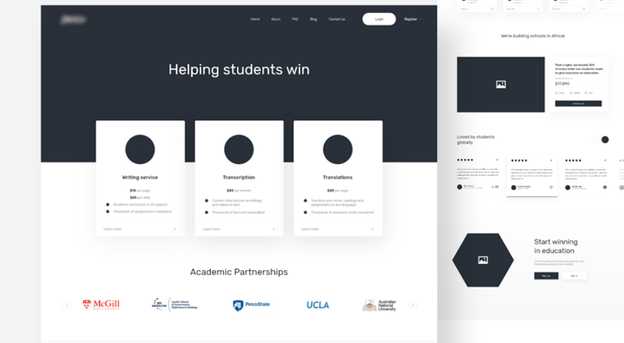 Academic Website Wireframe Example