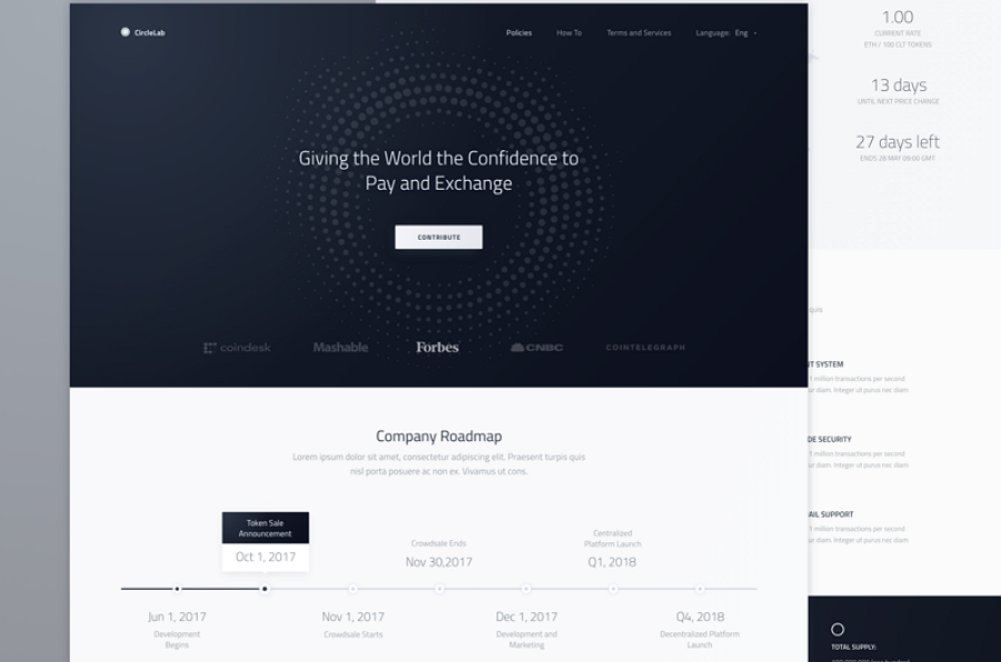 Landing Page Wireframe for New Cryptocurrency Web