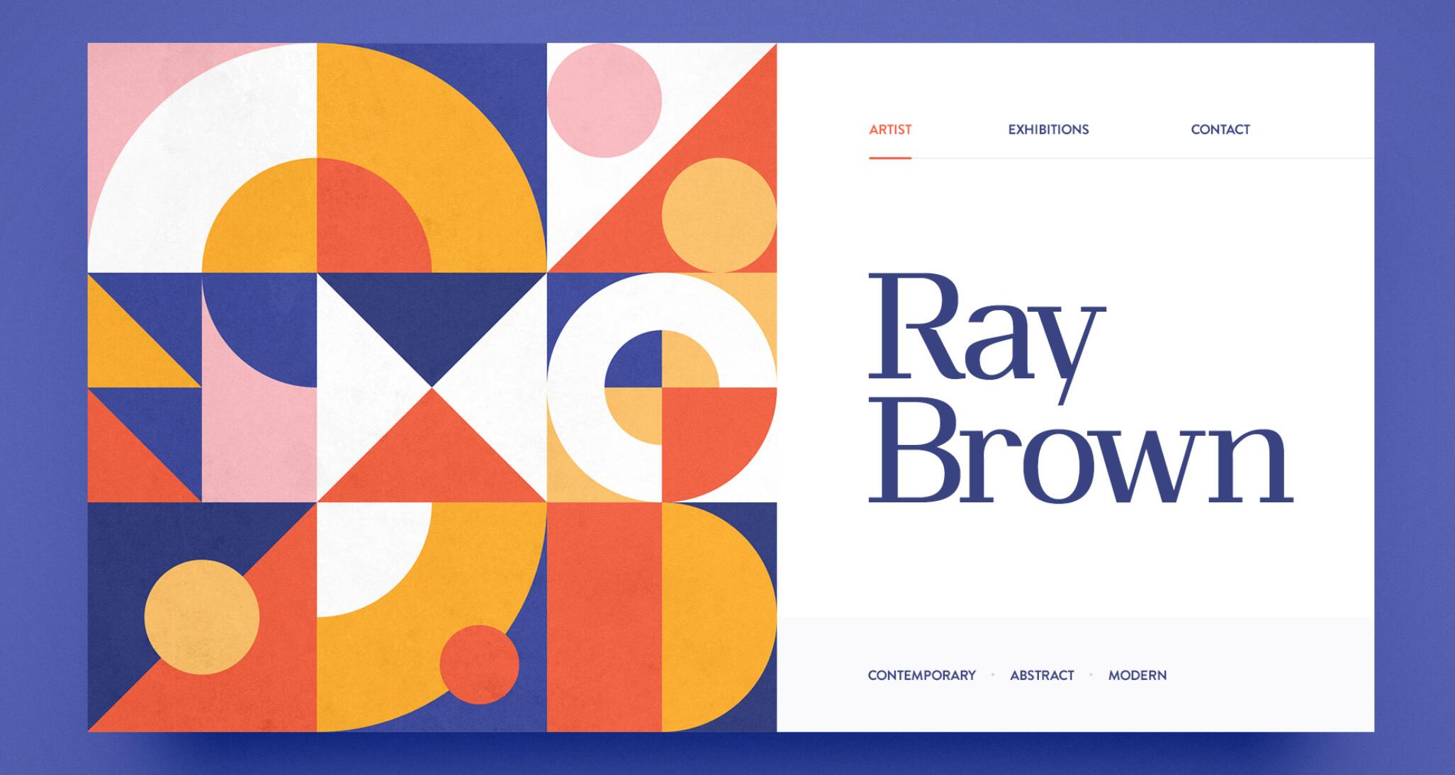 Website design inspiration – Ray Brown/ Contemporary Abstract Art