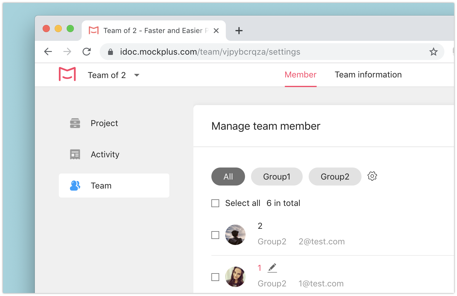 Manage team member