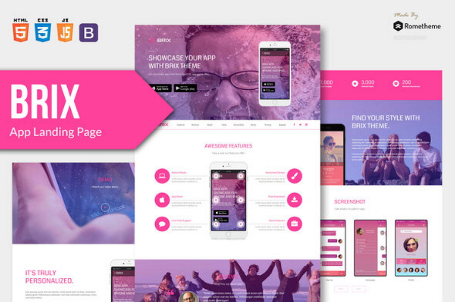 BRIX - Mobile App landing page HTML Template
