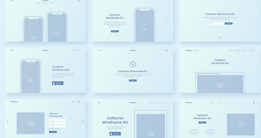 Collector Wireframe Web Kit (Adobe XD)