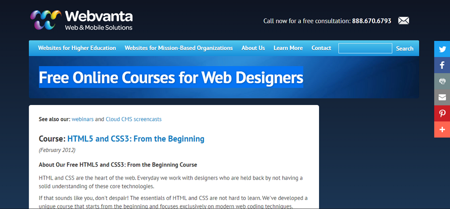 Web design course - Webvanta
