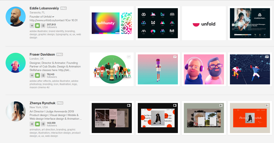 UX Portfolio Example on Dribbble