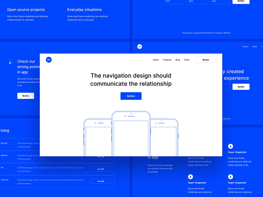 The Dot. Ready-to-go UI wireframe pack