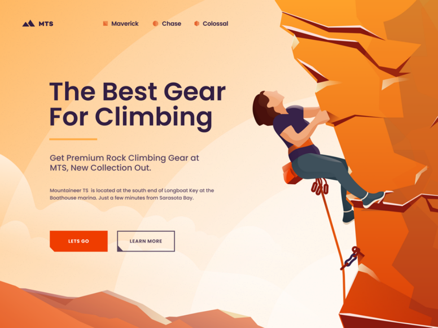 Flat web design - Mountaineer