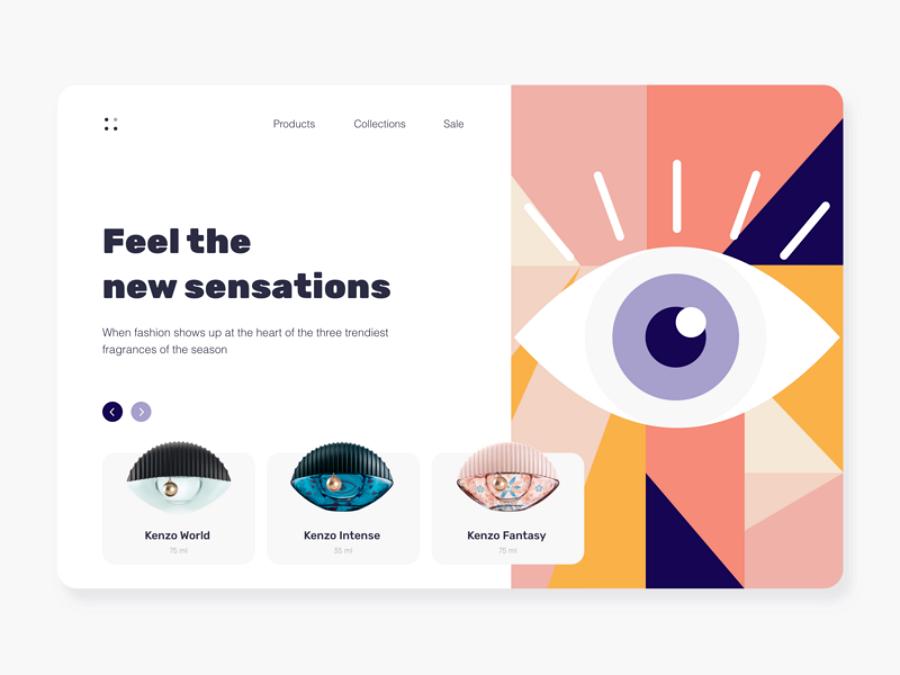 Flat web design - Kenzo