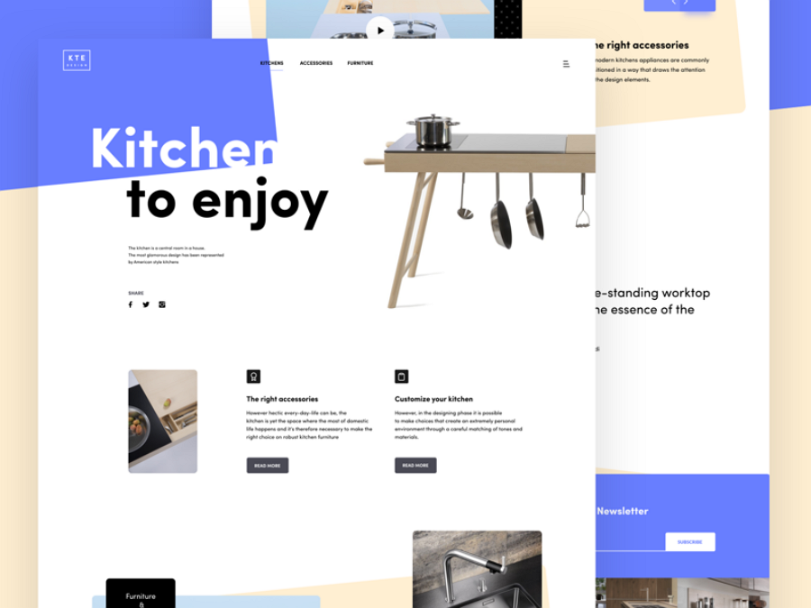 Flat web design - Kitchen landing