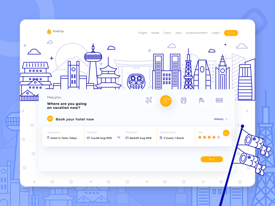 Flat web design - Firetrip