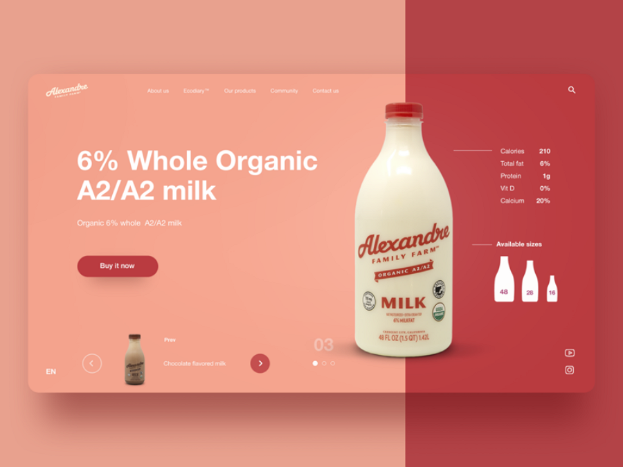 Flat web design - Milk