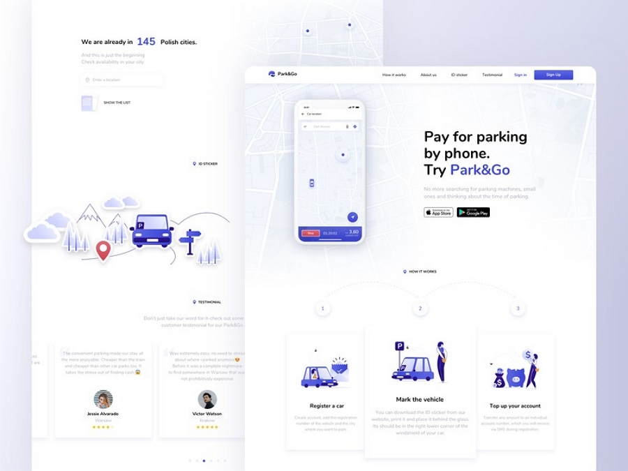 Flat web design - Park & Go