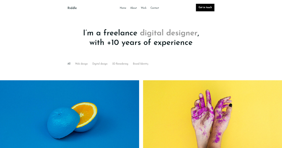 Rriddle – a mobile-ready freelancer portfolio template