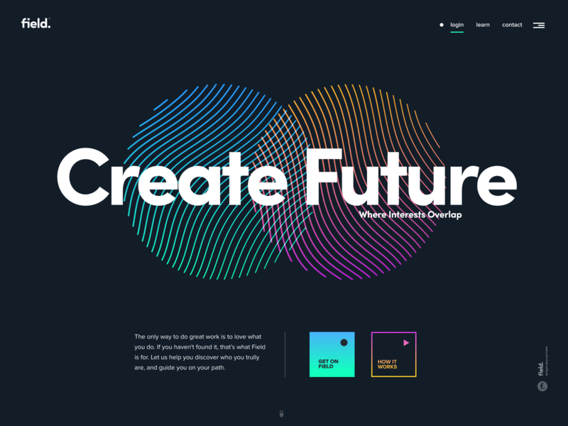 Landing page design example - field.
